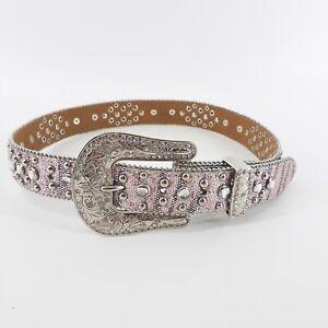 Nocona Belt Girls Western Bling Rhinestone Belt Pink Horseshoe Good Luck Size 24