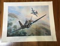 Airplane Battle Print P-51 Mustang Messerschmitt Signed # 460/850