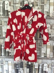 Beautiful Girls Minnie Mouse Soft Red With White Hearts Dressing Gown, 6/7 Years