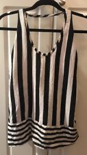 BCBG Max Azria Black White Silk Sleeveless Blouse Top Women's Size L