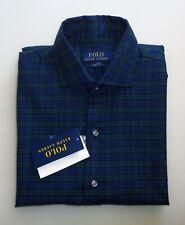 Polo Ralph Lauren Plaid Green Blue Button Down Long Sleeve Slim Fit Shirt S NEW