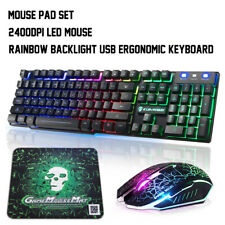 Rainbow LED Backlight USB Gaming Keyboard Set + 2400DPI Mouse + Mouse Pad Combo