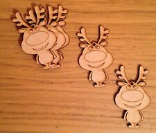 5x Wooden Reindeer Mdf Christmas Tree Decorations Blank