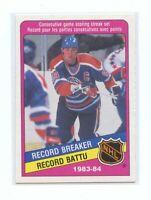 1984-85 O-Pee-Chee #388 Wayne Gretzky Edmonton Oilers Record Breaker Card
