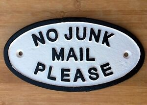No Junk Mail Sign Cast Iron Front Door Plaque Wall fence Mounting Easy Fix 17cm