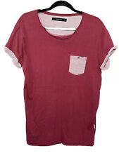 19 Ninety One Short Sleeve Shirt Rolled Sleeve Top Red Stripes Men's Size Large
