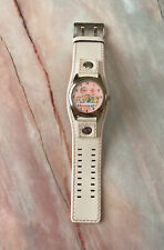 Paul Frank Womens Watch Vintage Surf Board Pink Face White Leather Band One Size