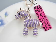 Betsey Johnson cute inlaid Crystal purple zebra pendant necklace # A209R