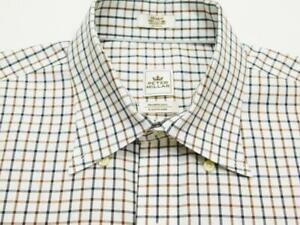 PETER MILLAR NANOLUXE Btn-Down Gingham Check Woven Long Sleeve Shirt Sz M