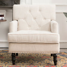 Chesterfield Barrel Armchair Fabric Button Upholstered Queen Anne Accent Chair