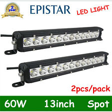 2X 13inch 60W Single Row LED Work Light Bar Driving Offroad Truck ATV 4WD 12V24V