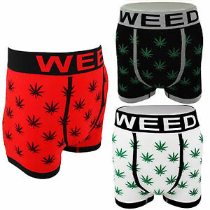 GANJA MARIJUANA 420 WEED LEAF Boxer Shorts Trunks Underwear 1 - 2 - 3 Pack