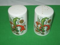 Vintage Salt and Pepper Shakers Retro Orange and Green Floral on White