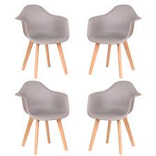 4er Wohnzimmerstuhl Esszimmerstuhl mit Armlehne Büro Stuhl Retro Design Grau