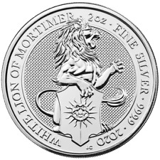 2020 U.K. 5 Pound Silver Queen's Beast White Lion of Mortimer .9999 2 oz BU