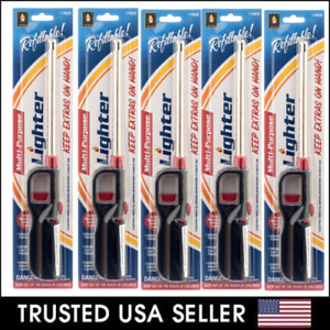 5 Packs Refillable Gas BBQ Lighter for Butane BBQ Kitchen Stove Fireplace Candle