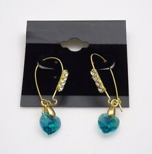 Gorgeous Gold Tone Round & Teal Heart Shape Crystal Ear Threaders