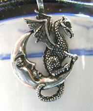 Celestial MIDNIGHT DRAGON & MOON ~ Pewter TALISMAN PENDANT & black necklace cord