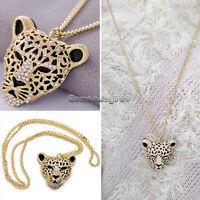 Retro Leopard Head Pendant Long Necklace Women's Mini Gold Sweater chain S+++
