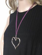 large abstract large heart silver necklace purple cord adjustable Black Friday