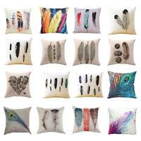 EE_ Feather Print Throw Pillow Case Linen Cushion Cover Art Home Sofa Decor Nove