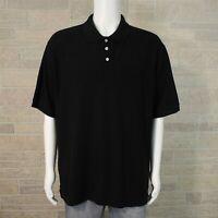 Austin Men's 2XL Classic Fit Golf Polo Shirt Solid Black Pique Cotton