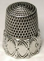 """Antique Simons Bros. Sterling Silver Thimble  """"Octagon Oval Panel""""  C1890s"""