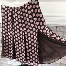 S.L.B WOMEN'S SKIRT BROWN W/PINK POLKA DOTS A-LINE WITH LAYERS- SILK LINING Sz 4