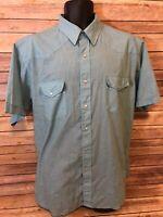 Corral West Ranchwear Pearl Snap Shirt Size XL Mens Green Western Plaid cowboy