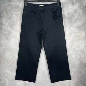 JIGSAW Navy Blue High Waist Wide Leg Chino Trousers UK 10