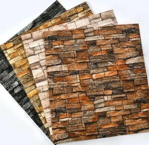 10 pcs 3D Tile Brick Wall Sticker Self-adhesive Waterproof Foam Panel Effect