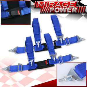 """Blue 4 Point Safety Seat Belt Harness Strap Pair 2"""" W/ Buckle Latch On / Off"""