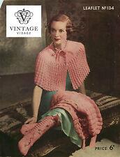 VINTAGE Maglieria pattern-how per fare un' epoca anni'30 Elegante CAPE, COPRISPALLE, Calzini