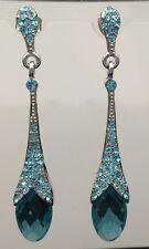 CLIP-ON Aqua Blue Crystal Long Earring 5.8cm Wedding Formal Swarovski Silver