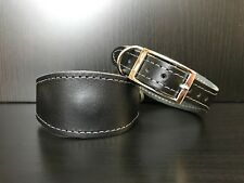 XS Leather MAGNETIC Dog Collar - LINED - Whippet Greyhound Lurcher Saluki BLACK