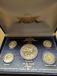 2001 24 Karat Plated Liberty Dollar Coin Set.  Penny, Nickel, Dime, Quarter & $1