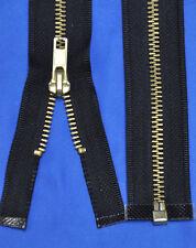 Separating Jacket Zipper #5- 1.25 Wide x 18 Inch Long- Black/ Brass Teeth