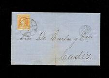 "Spain  1861 4c Gilbraltar to Cadiz. San Roque ""63 Cartwheel"" cancel on cover"