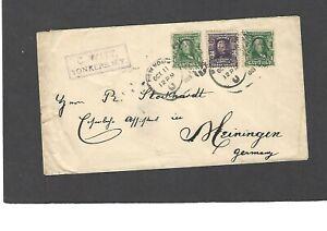 1903 REGISTERED NEW YORK,NY TO HEININGEN,GERMANY-MULTI FRANKED