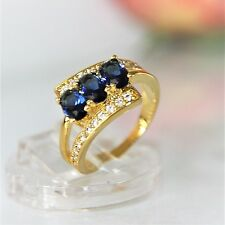 Saphir blau Zirkonia Akzent Damen Ring Gold 18K GP (750) Gr 57 Ø18,1mm gest