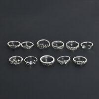 11PCS Retro Silver Jewelry Set Boho Fashion Arrow Moon Midi Finger Knuckle Rings