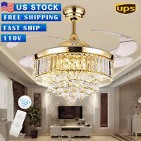 42'Rose Gold Crystal LED Invisable Ceiling Fan Lamp  Lighting Remote Chandeliers