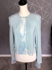 Women's Ronald Joyce In Vite Cardigan Bolero Size14 Sky Blue Layered Jacket