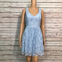 B. Darlin Fit & Flare Skater Dress 5 6 Juniors Blue Floral Lace Bow Tie Back