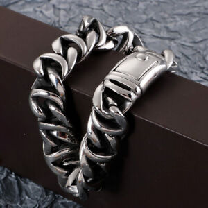 316L Stainless Steel Casting curb Chain Bracelet 16mm 8.26'' Mens Heavy bangle