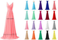 New Straps Chiffon Long Bridesmaid Formal Prom Party Ball Evening Dress Size6-24
