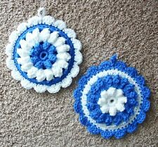 PAIR OF PUFF-STITCH ROUND POTHOLDERS, Crochet, BLUE AND WHITE, New, HANDMADE