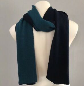 NEW Old Navy Men's Scarf, Cotton Cashmere, Solid Navy Turquoise Reversible