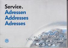 VW Golf 3 : Service Adressen Händlerverzeichnis 10.92 aus Bordbuch Addresses