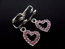 A PAIR OF SILVER & PINK CRYSTAL /RHINESTONE HEART CLIP ON EARRINGS. NEW.